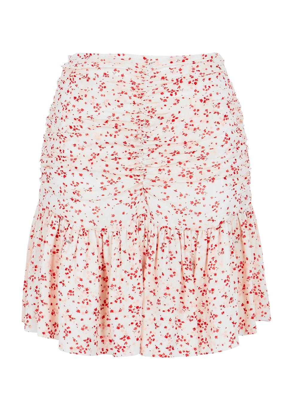 Ganni Mini skirts FLORAL-PRINT RUCHED GEORGETTE MINI SKIRT