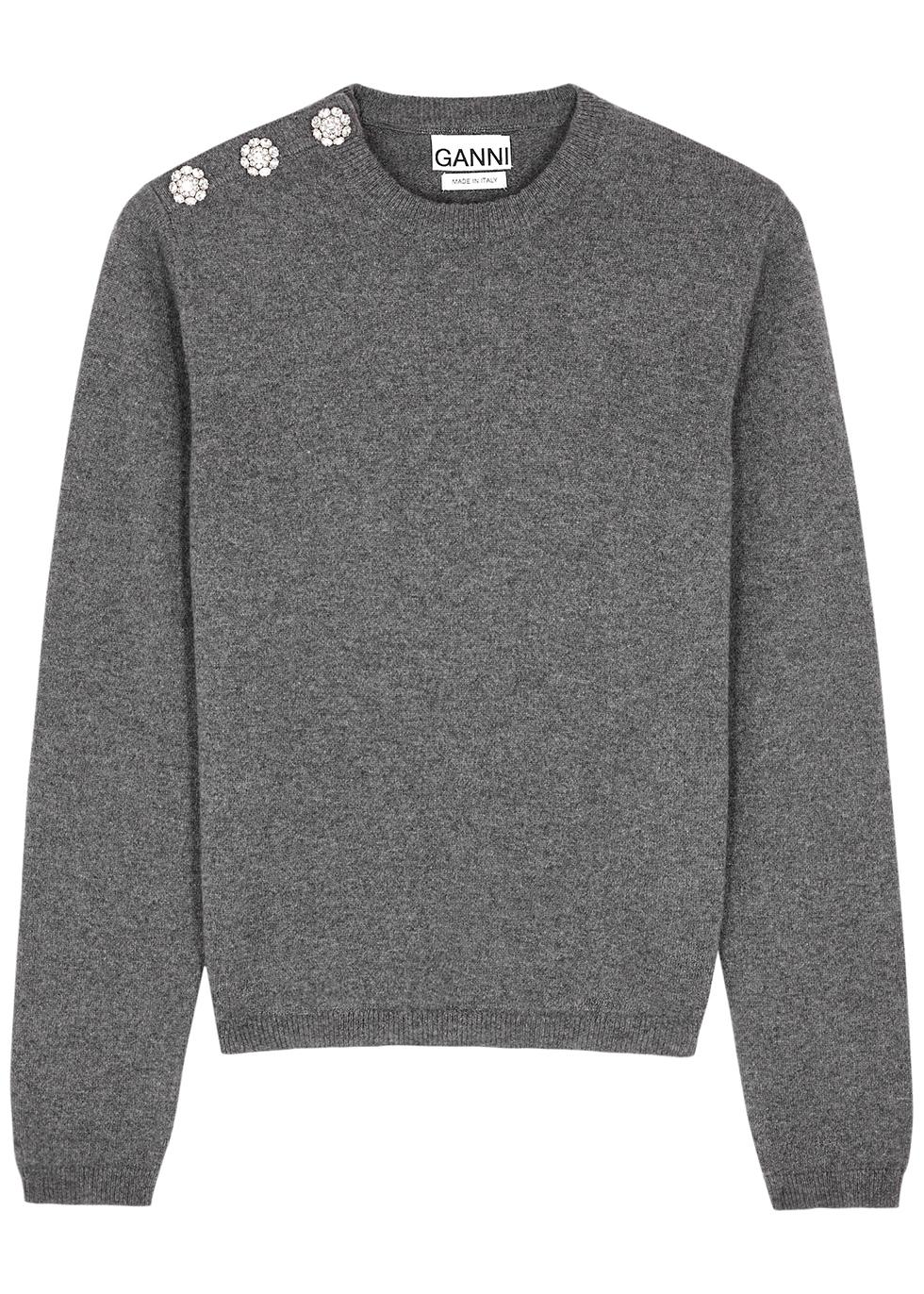 Dark grey embellished cashmere jumper