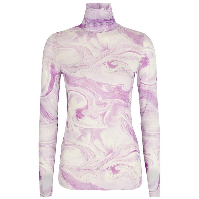 Ganni Clothing LILAC PRINTED STRETCH-MESH TOP