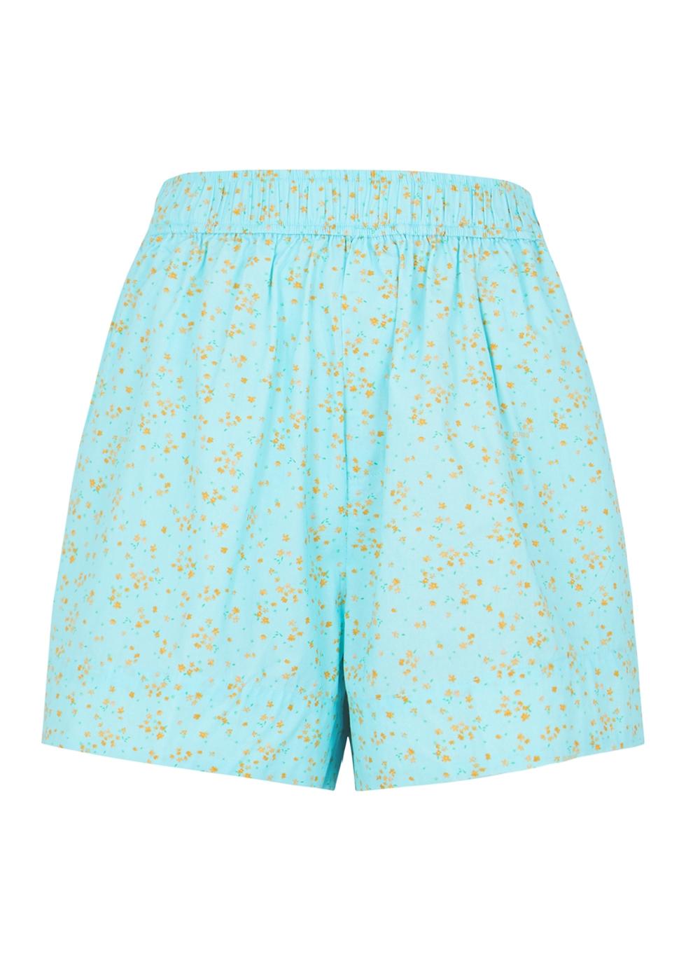 Blue floral-print cotton shorts