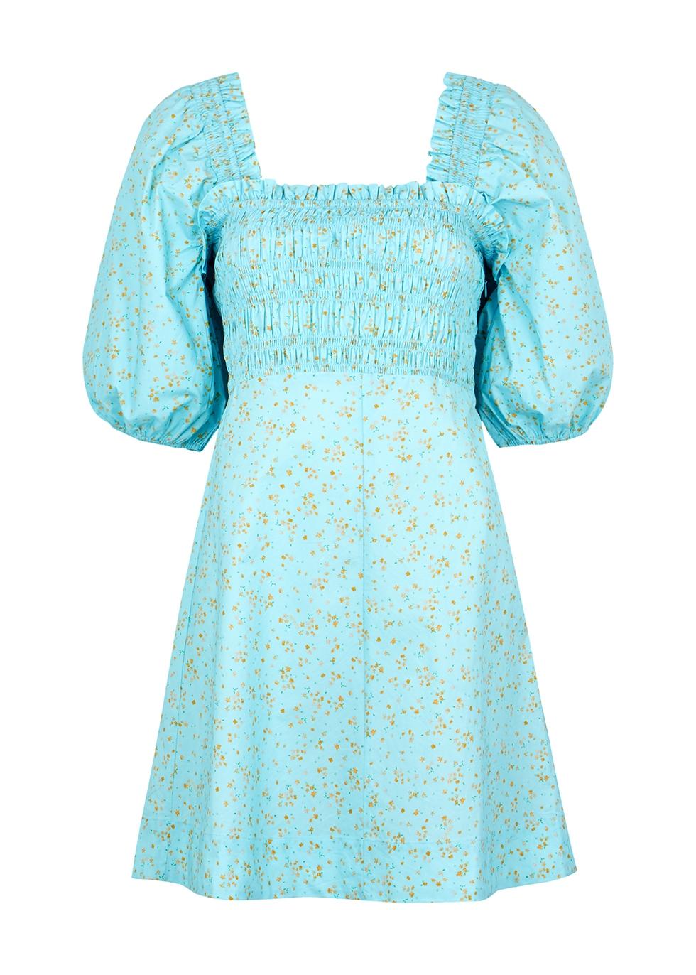 Blue floral-print cotton mini dress