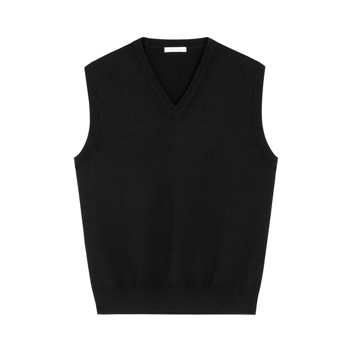 The Row Wools CREMONA BLACK MERINO WOOL VEST