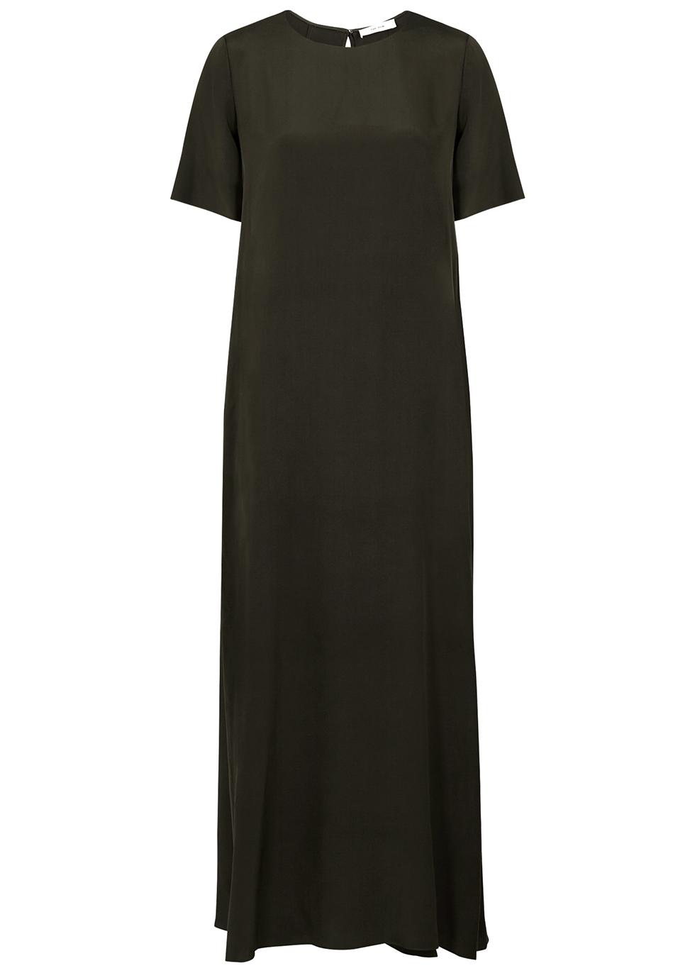 Robi dark green silk maxi dress