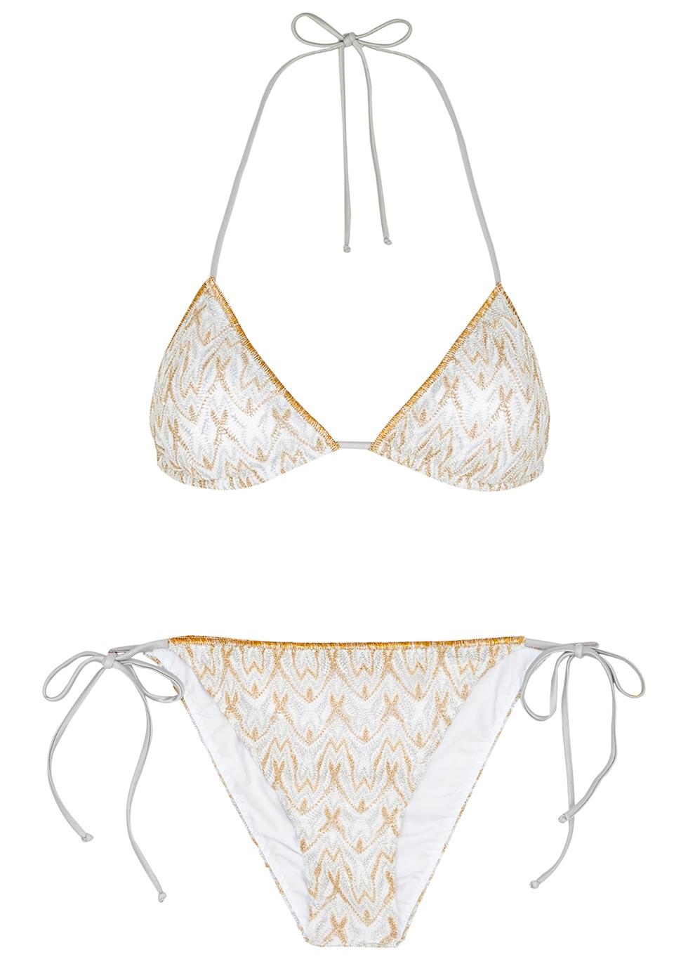 Zigzag metallic-knit bikini