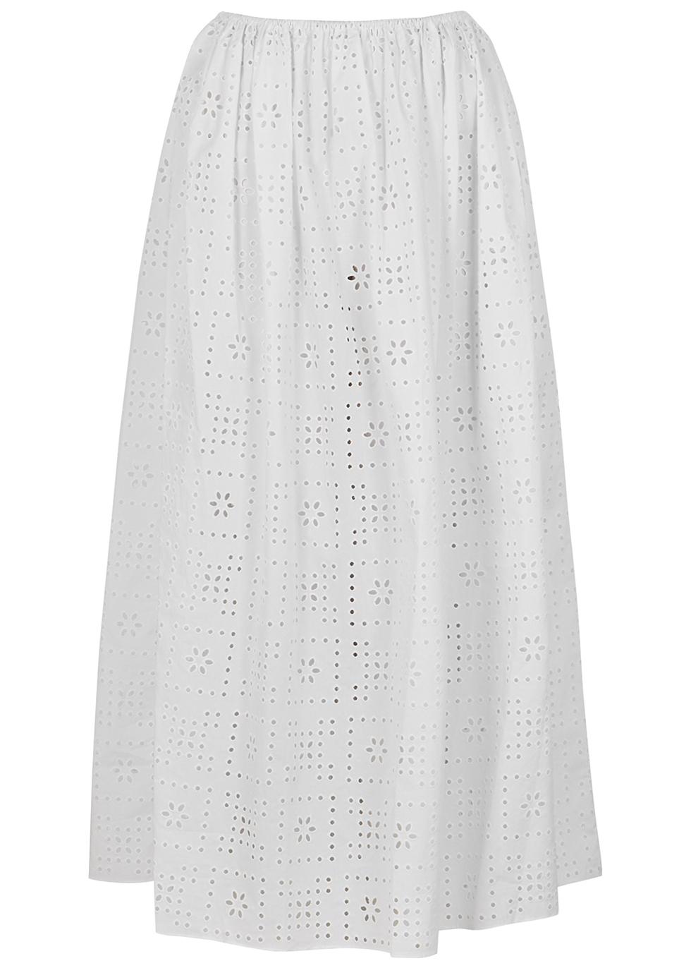 The Crochet Broderie white midi skirt