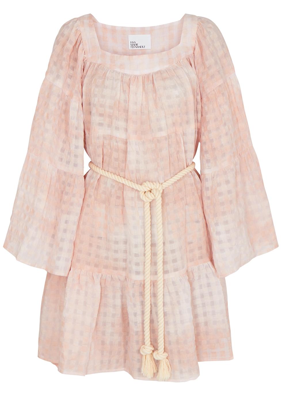 Peasant pink checked linen-blend mini dress