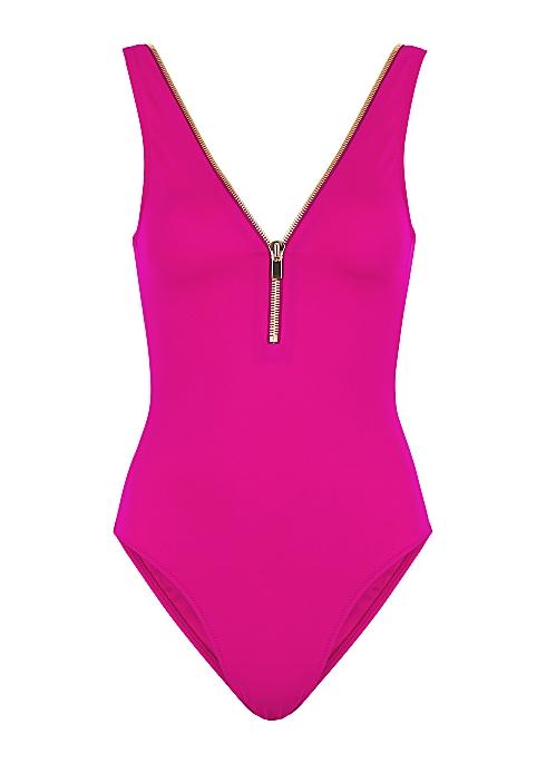 Lea fuchsia zip-embellished swimsuit