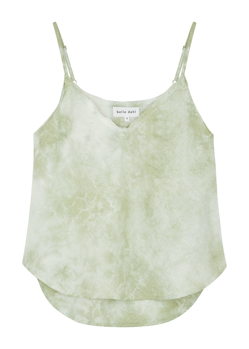 Sage tie-dyed linen camisole top
