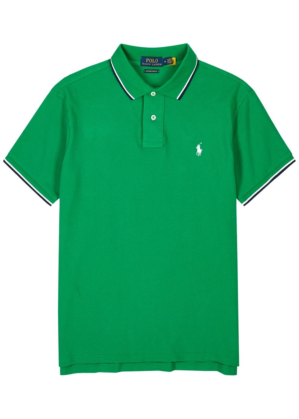 Green slim piqué cotton polo shirt