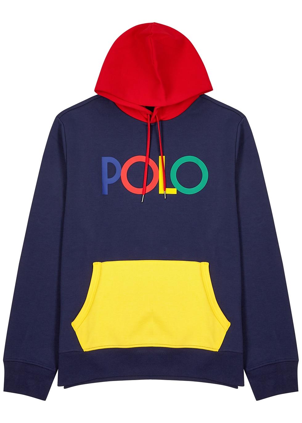 Navy logo hooded jersey sweatshirt