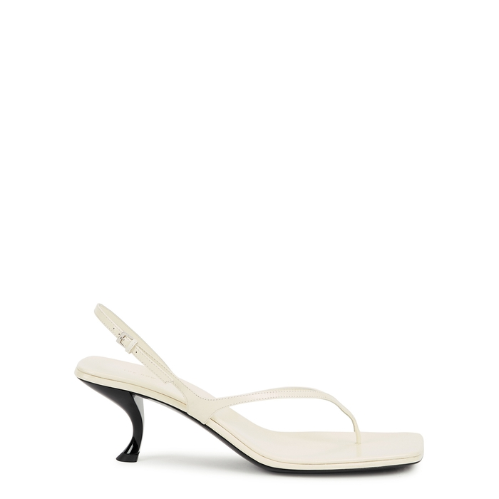The Row CONSTANCE 55 OFF-WHITE LEATHER SANDALS
