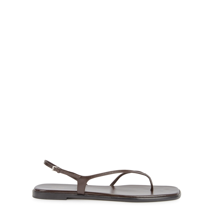 The Row CONSTANCE DARK BROWN LEATHER SANDALS
