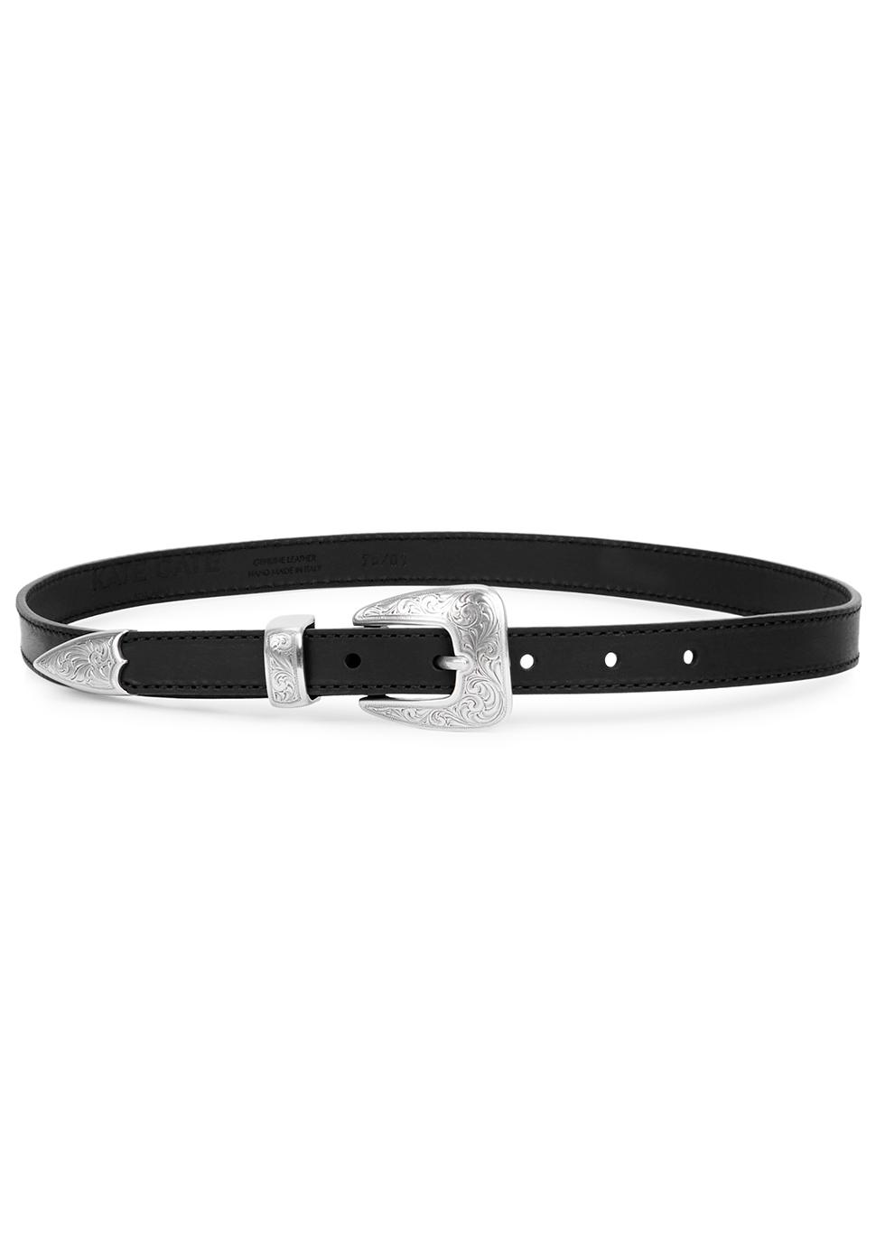 Kim black leather belt