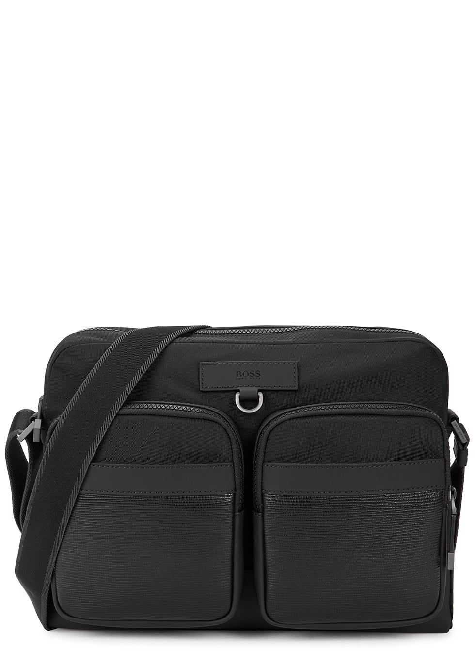 Trucker black nylon cross-body bag