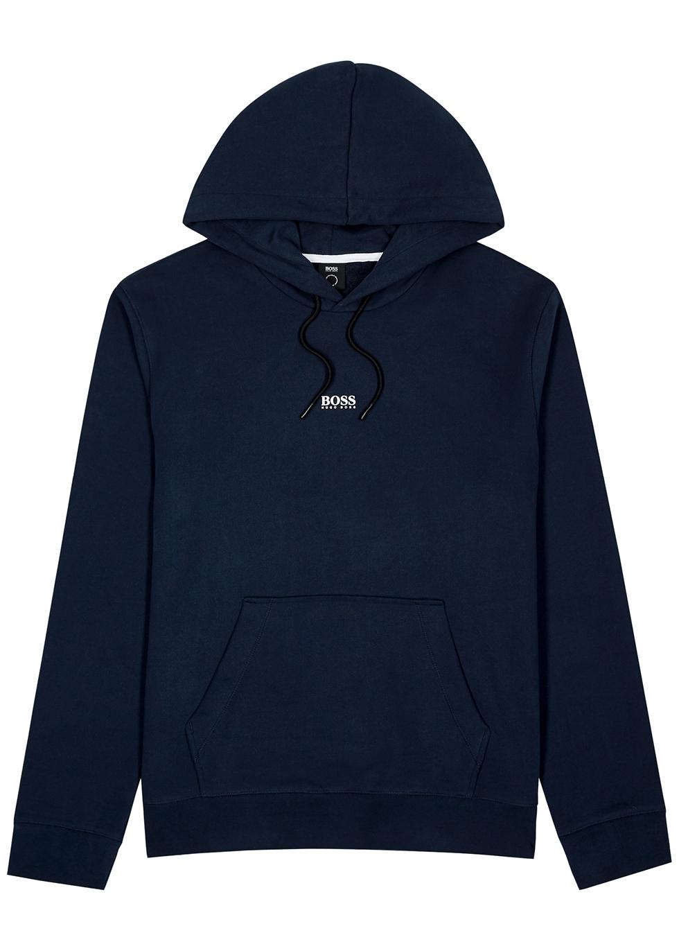 Weedo navy hooded cotton-blend sweatshirt