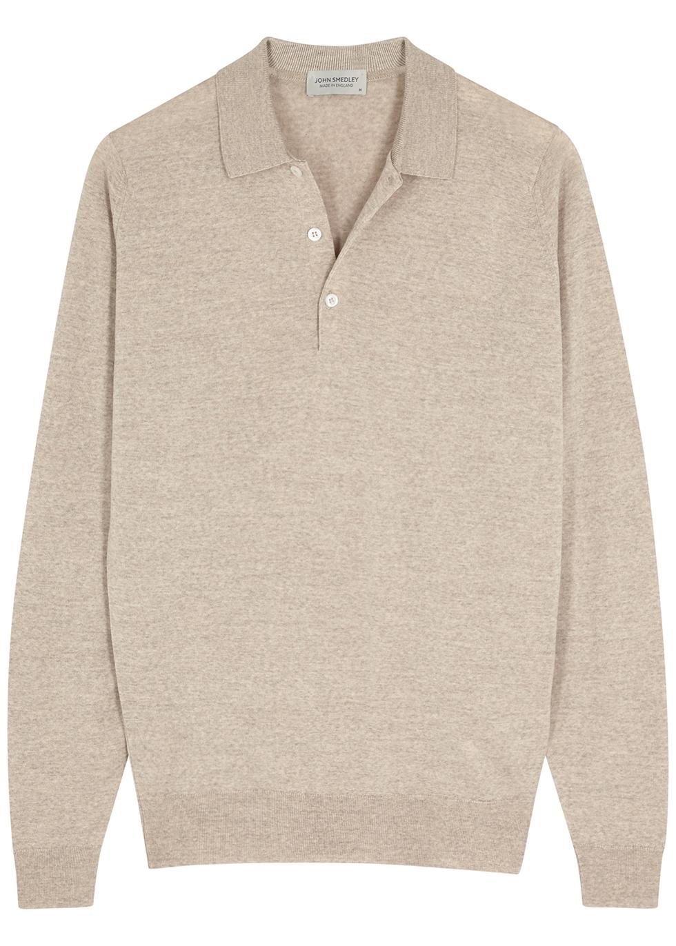 Belper oatmeal merino wool polo shirt