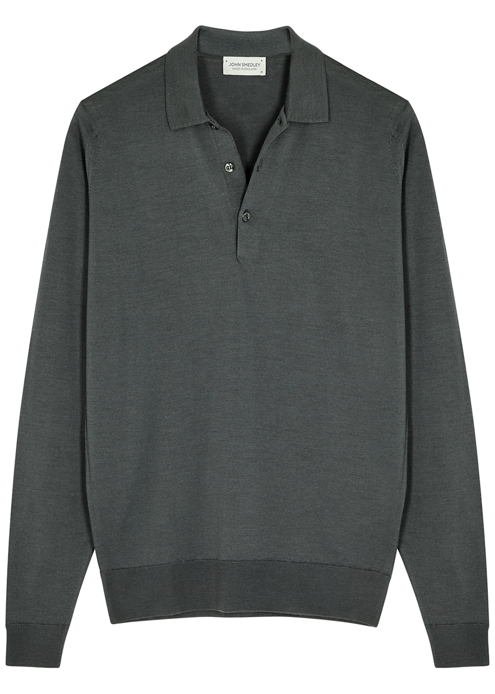 Belper dark grey merino wool polo shirt
