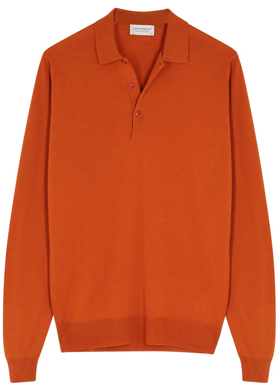 Belper rust merino wool polo shirt