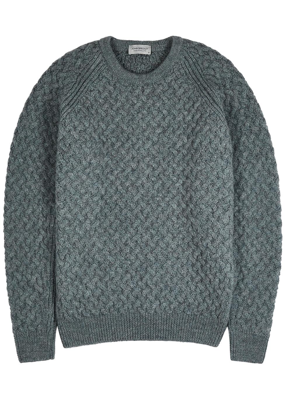 Hillside blue cable-knit wool jumper