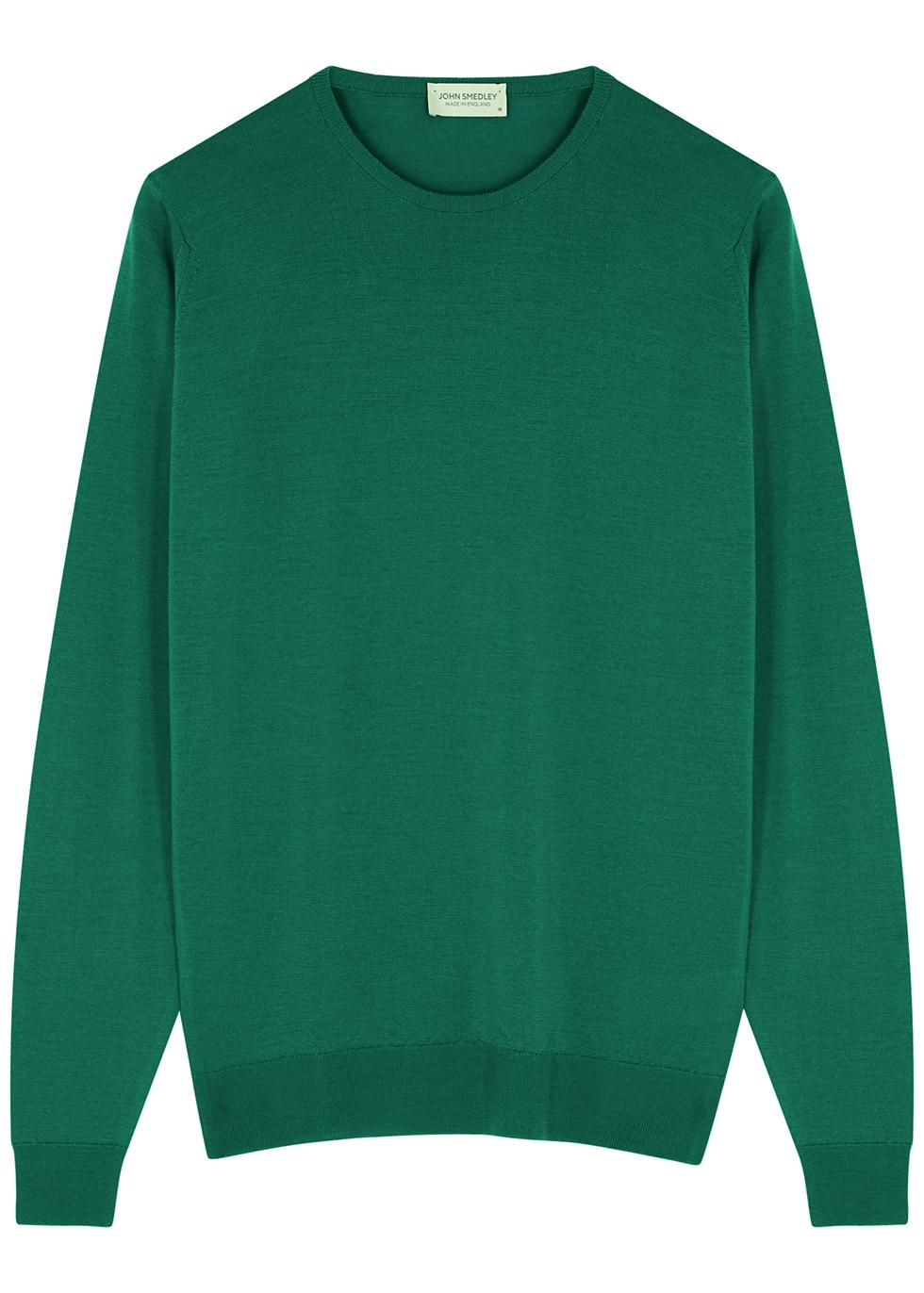 Lundy emerald merino wool jumper