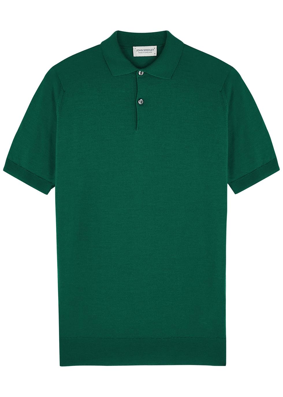 Payton emerald wool polo shirt
