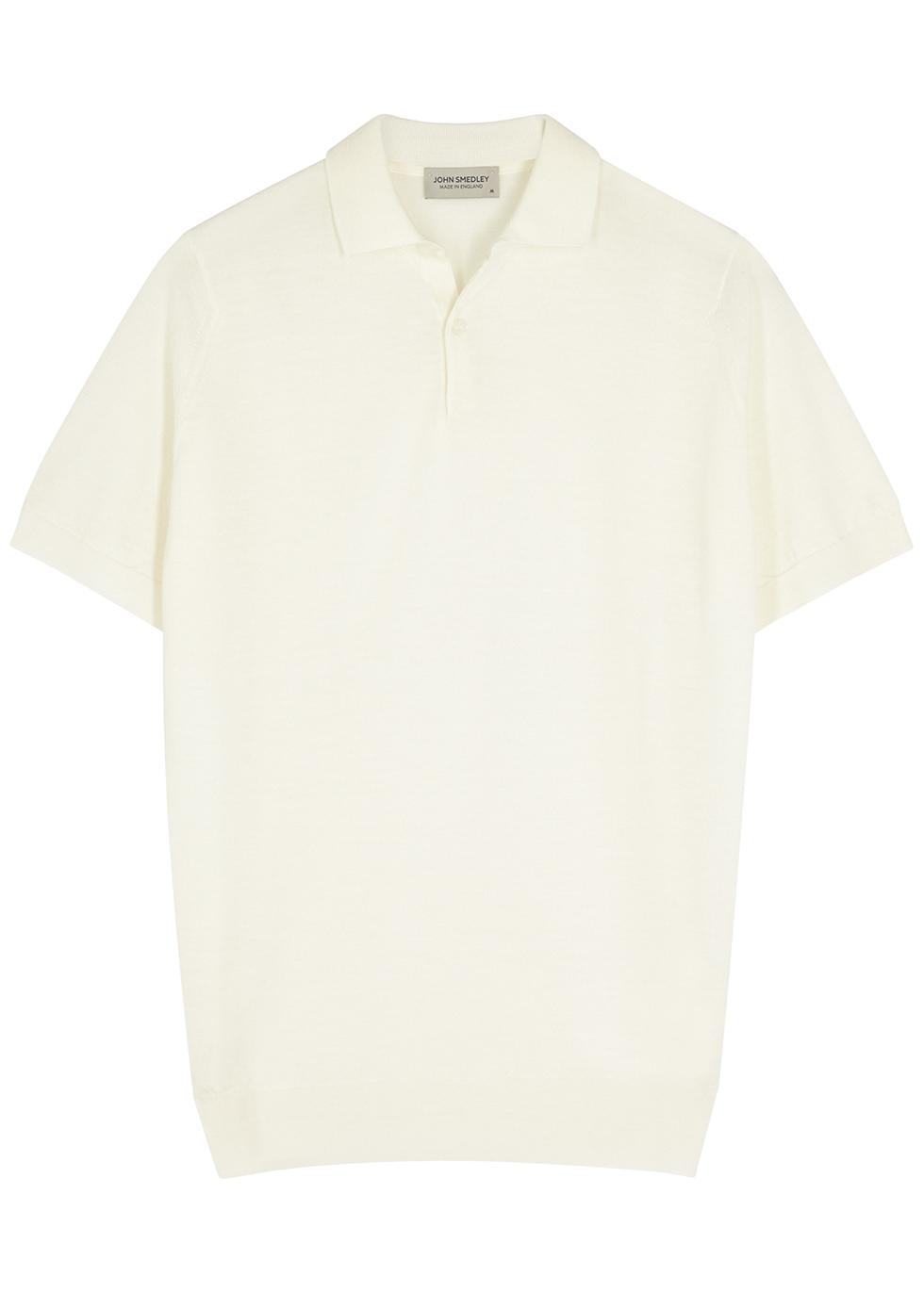 Payton off-white merino wool polo shirt