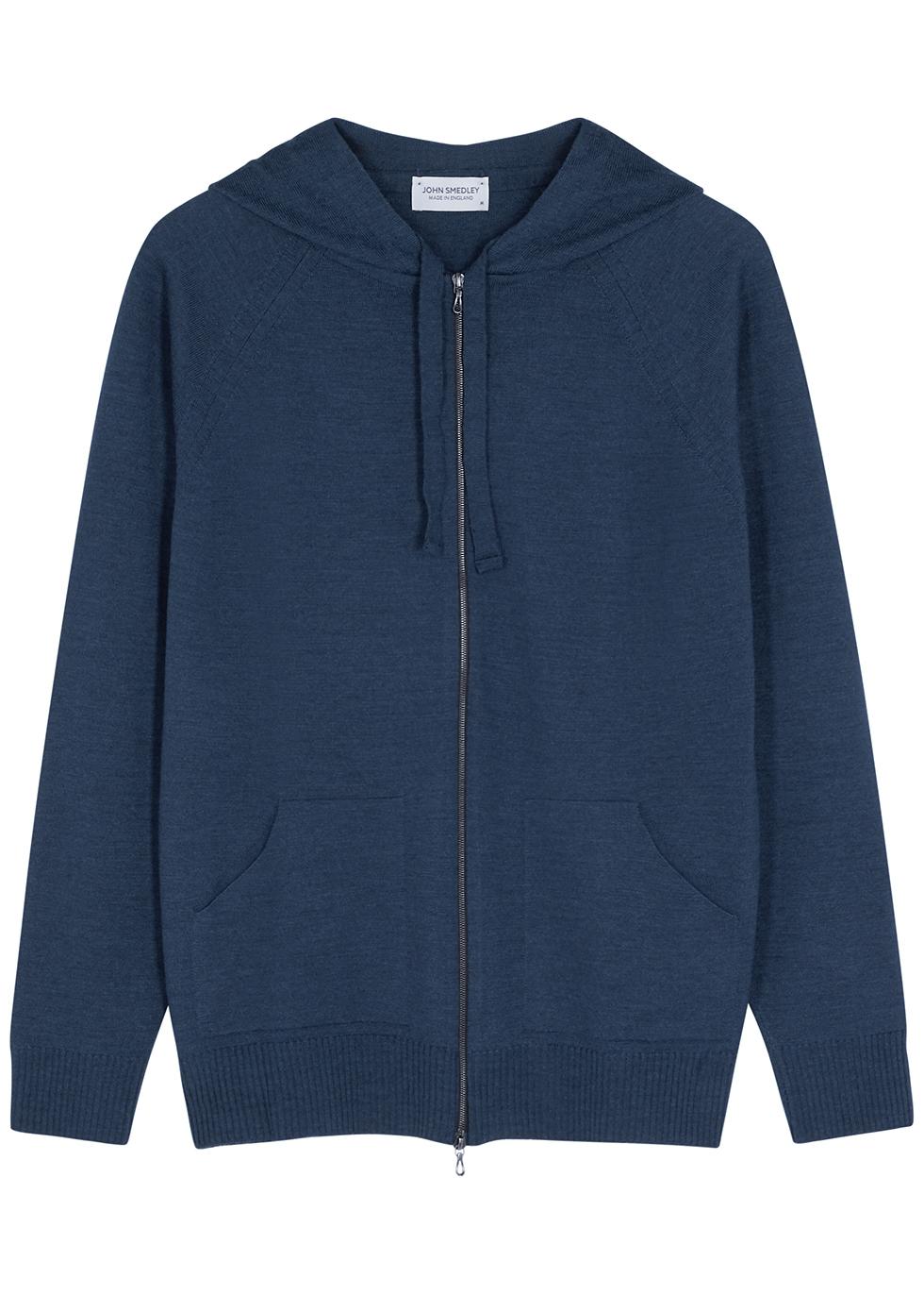 Reservoir navy hooded merino wool jumper