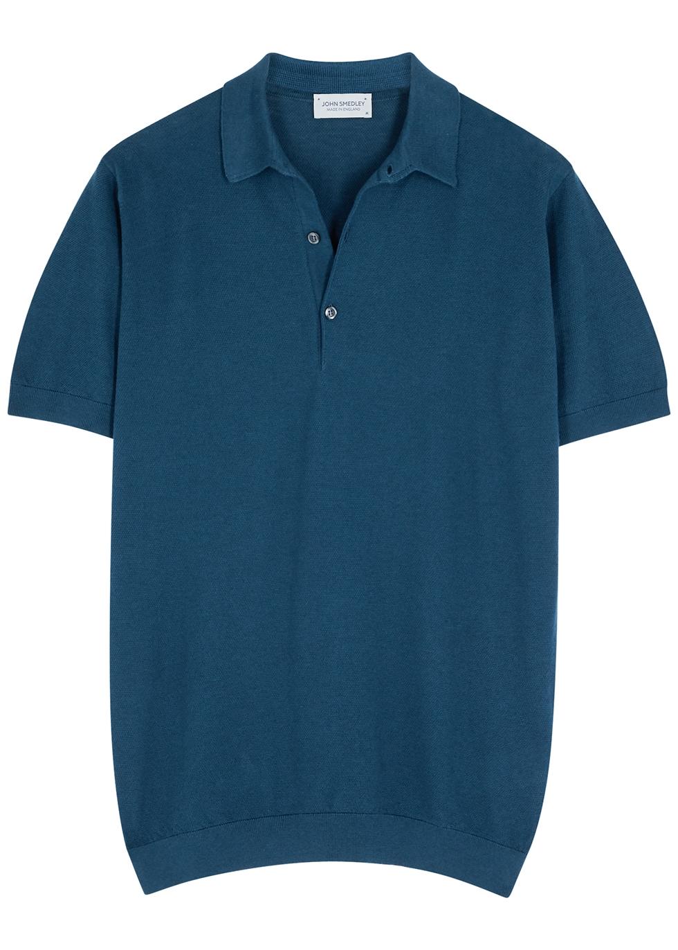 Roth dark blue textured-knit polo shirt