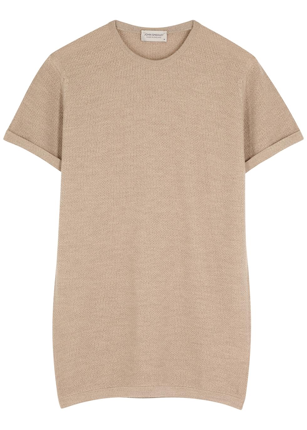 2.Singular taupe textured-knit wool T-shirt