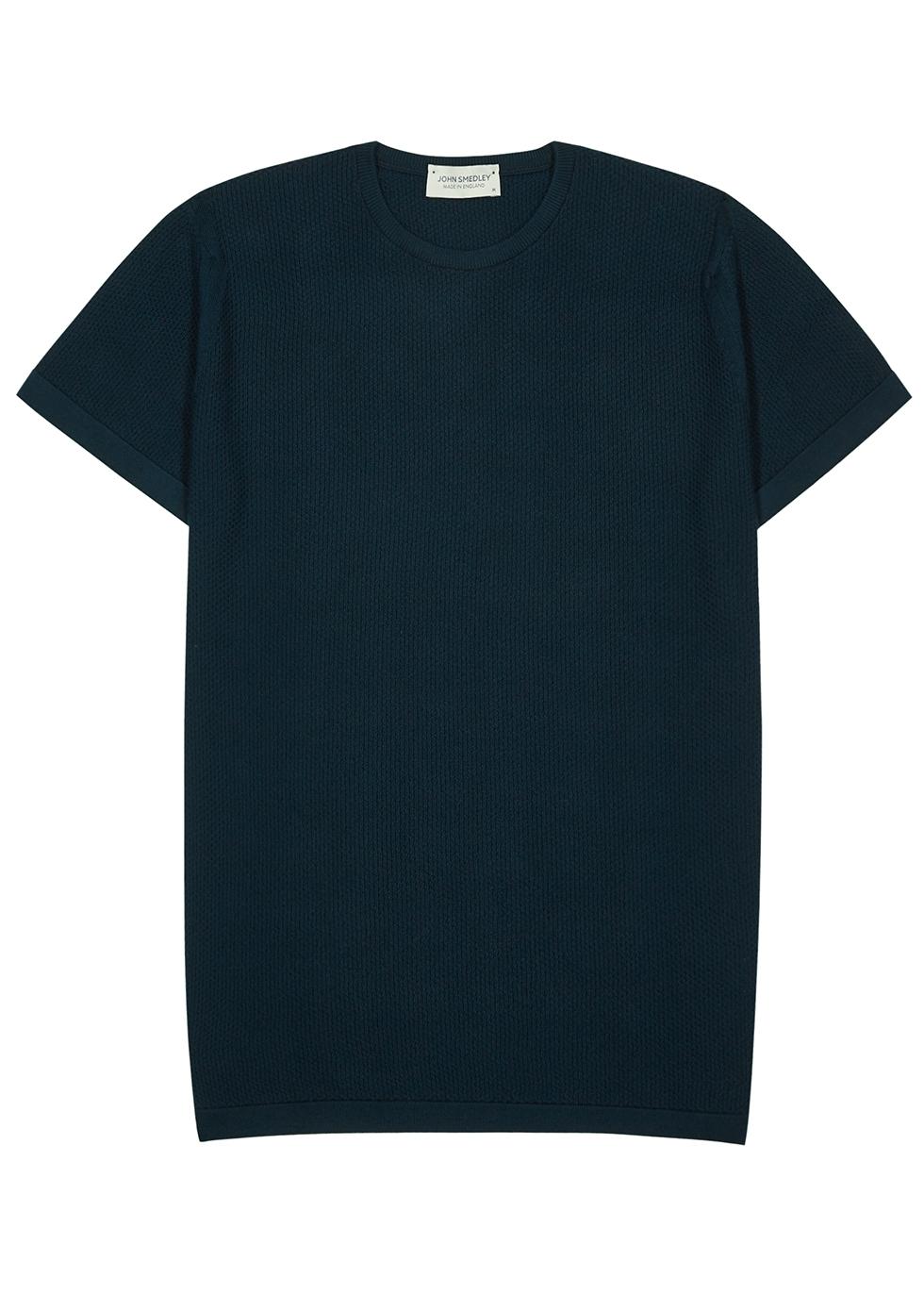 2.Singular teal textured-knit wool T-shirt
