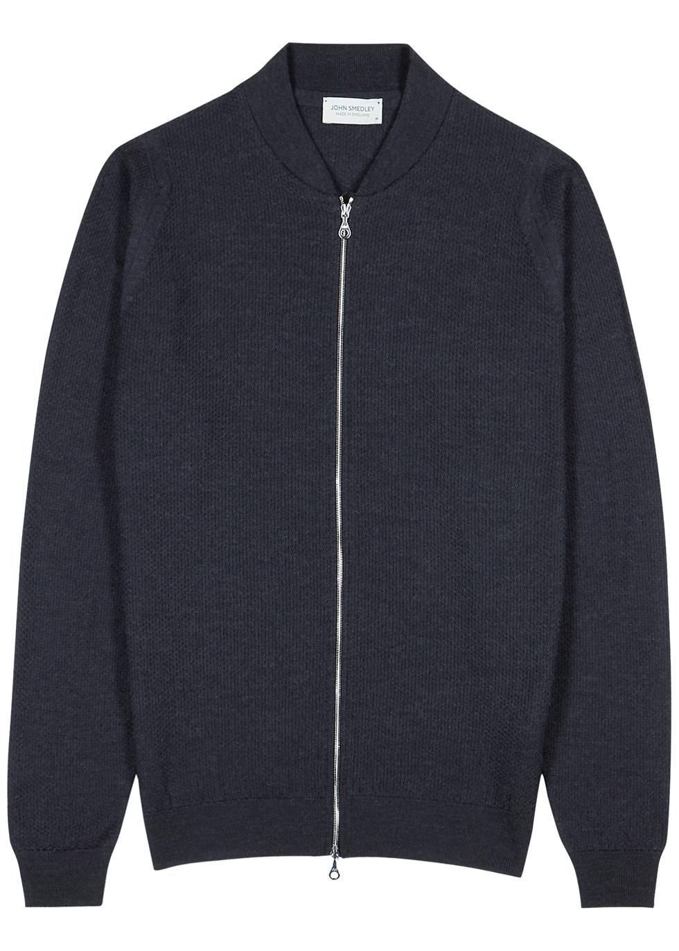 6Singular dark grey waffle-knit wool jacket