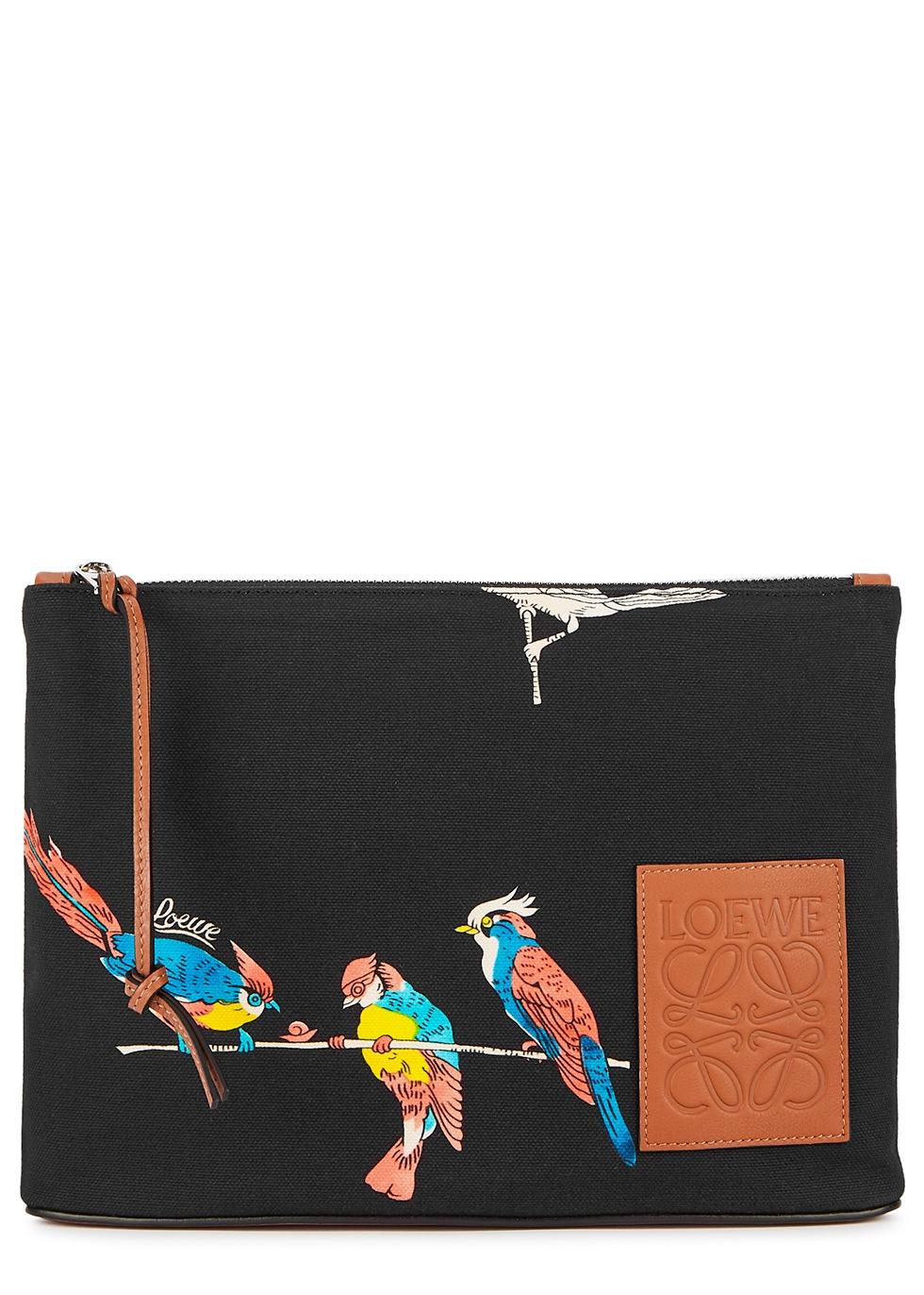 X Paula's Ibiza black printed canvas pouch