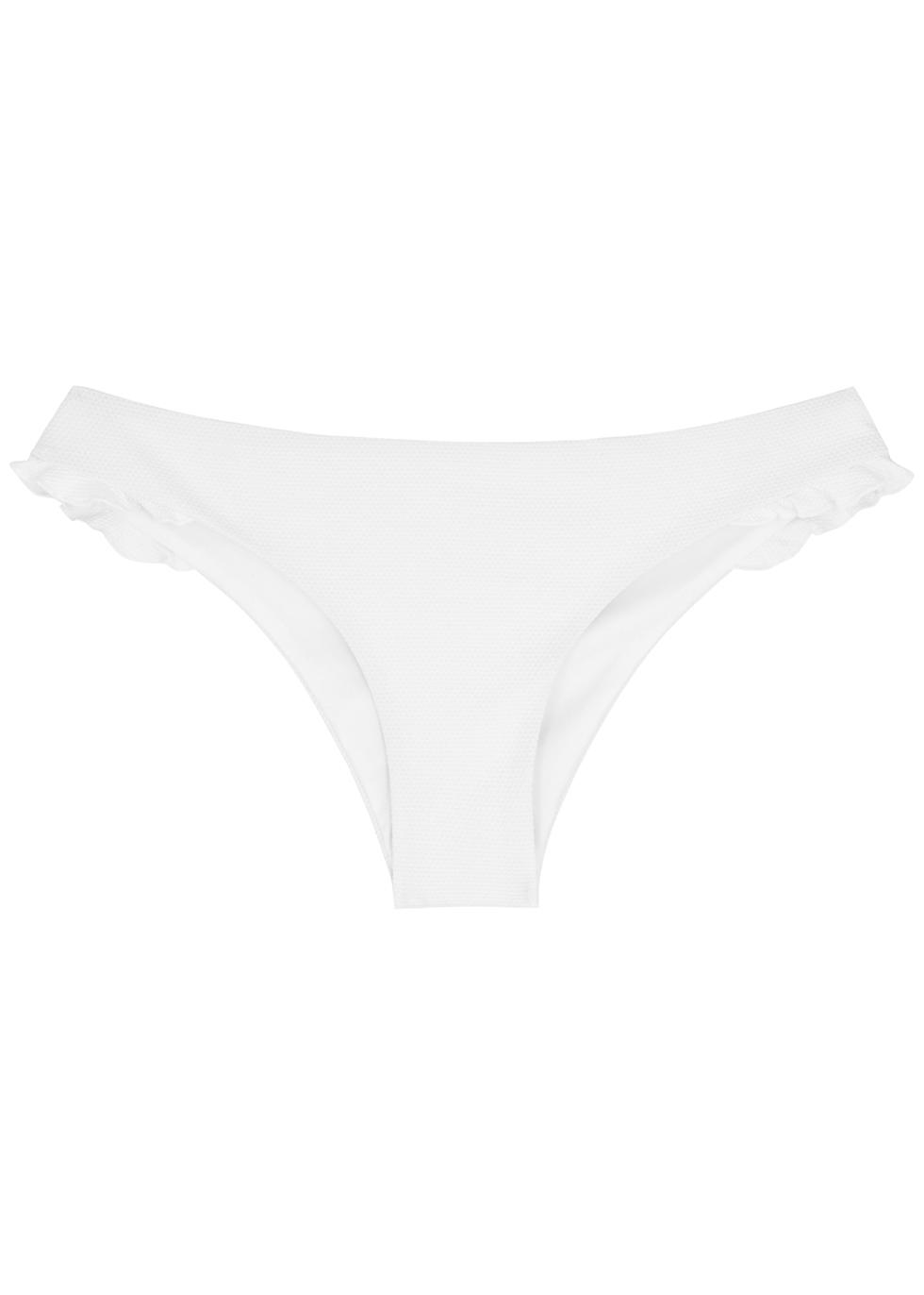 Olivia white ruffle-trimmed bikini briefs