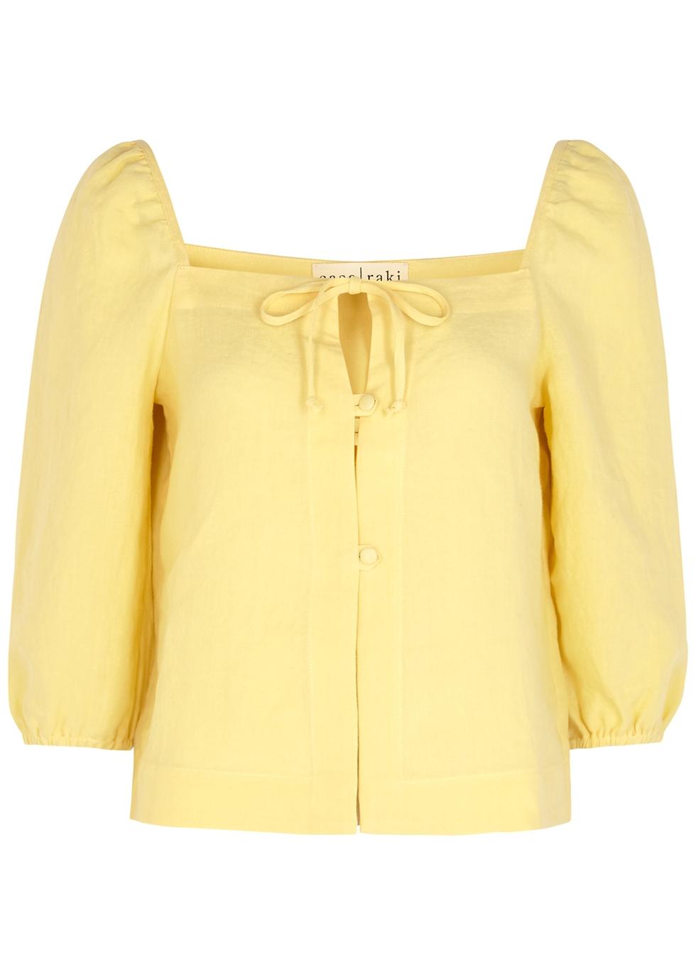 Nicola yellow linen top
