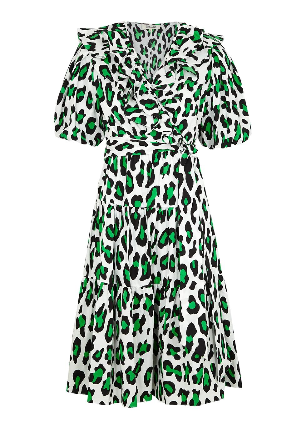 Hirita leopard-print cotton wrap dress