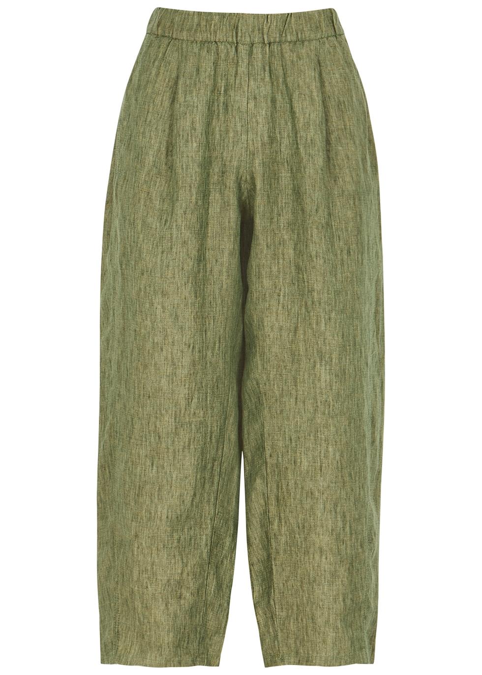 Green wide-leg cropped linen trousers