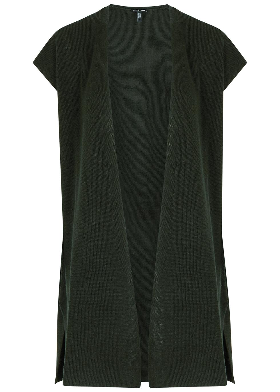 Dark green knitted linen-blend cardigan