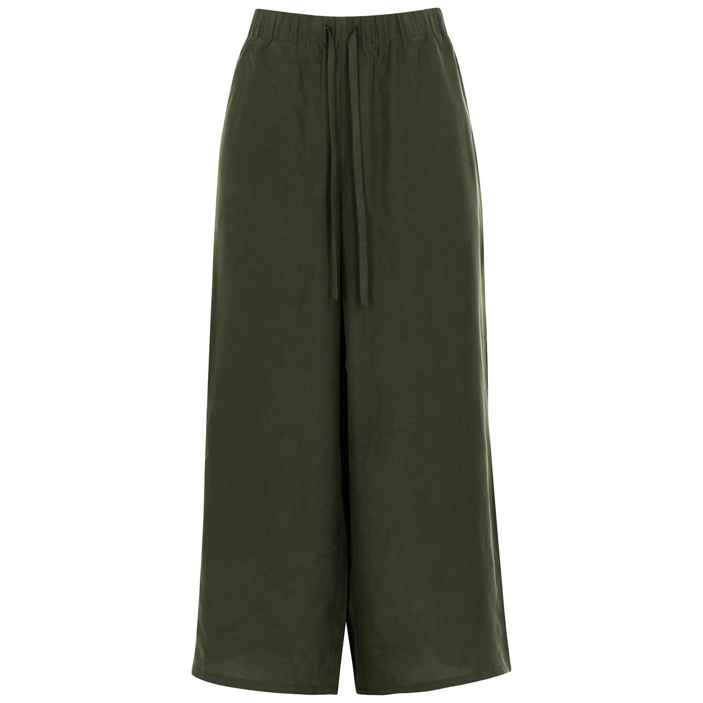 Dark green wide-leg cropped silk crepe de chine trousers