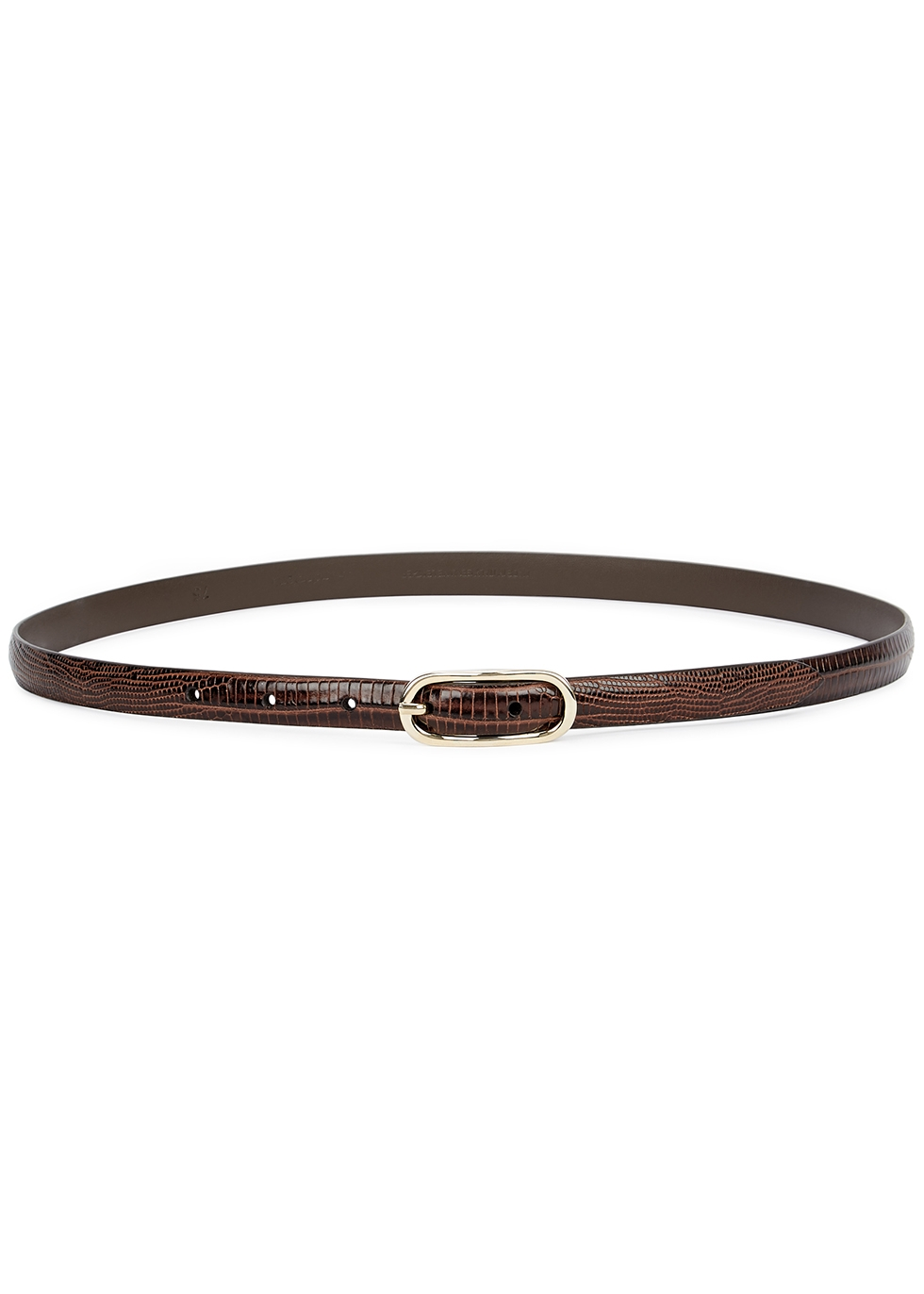 Brown lizard-effect leather belt