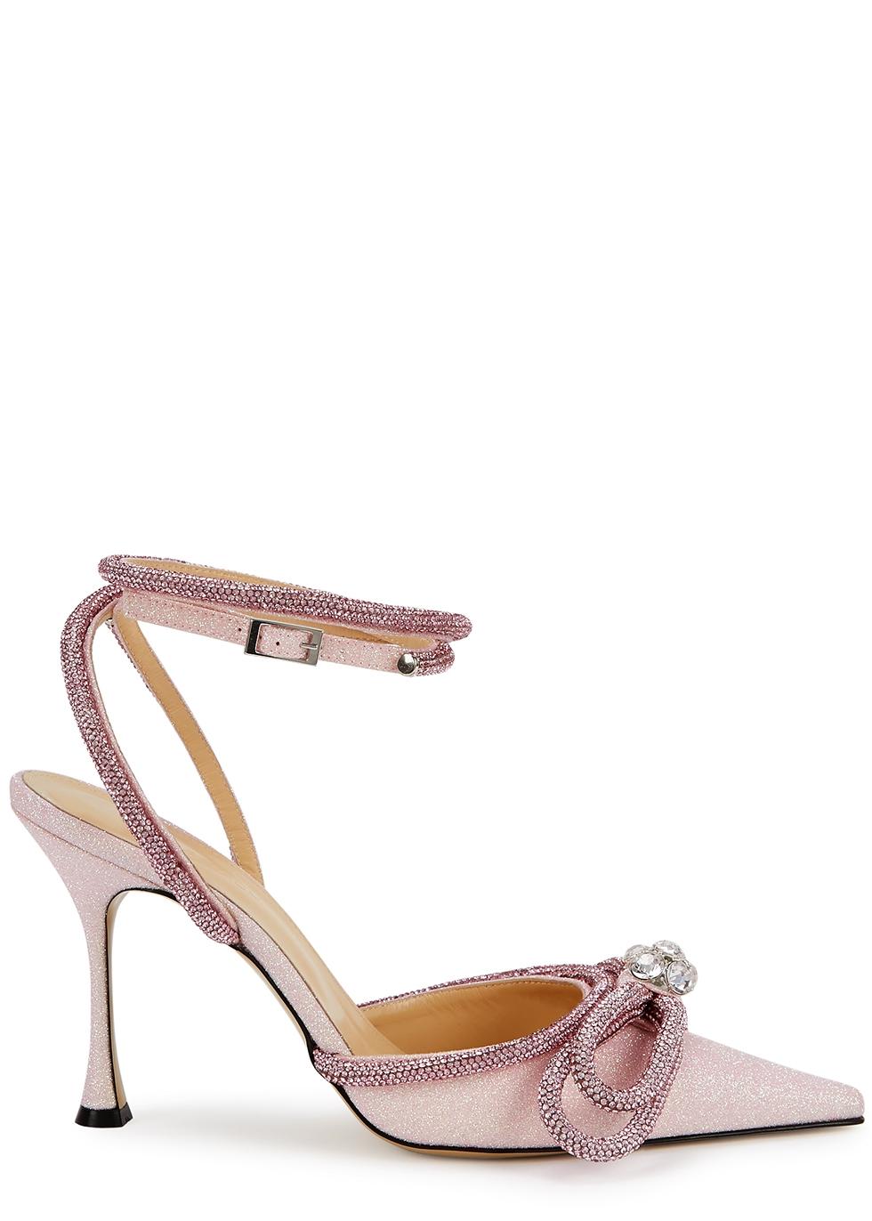 100 pink crystal-embellished glittered pumps