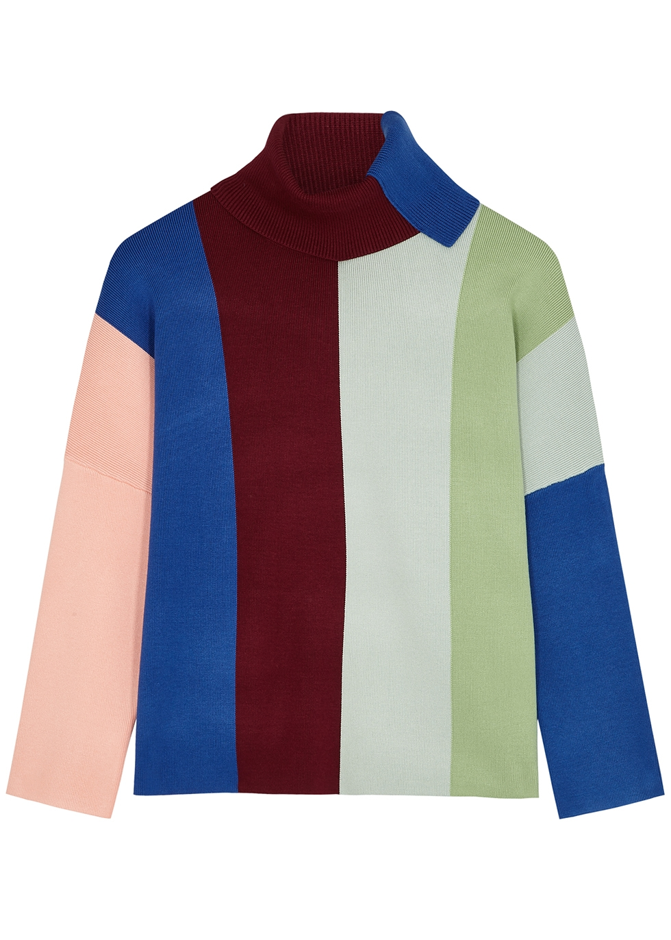 Striped roll-neck stretch-knit jumper
