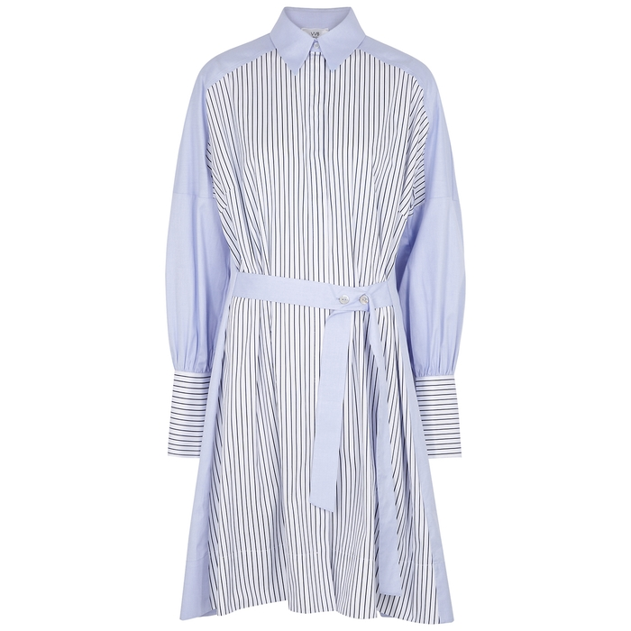 Victoria Victoria Beckham BLUE PANELLED COTTON SHIRT DRESS