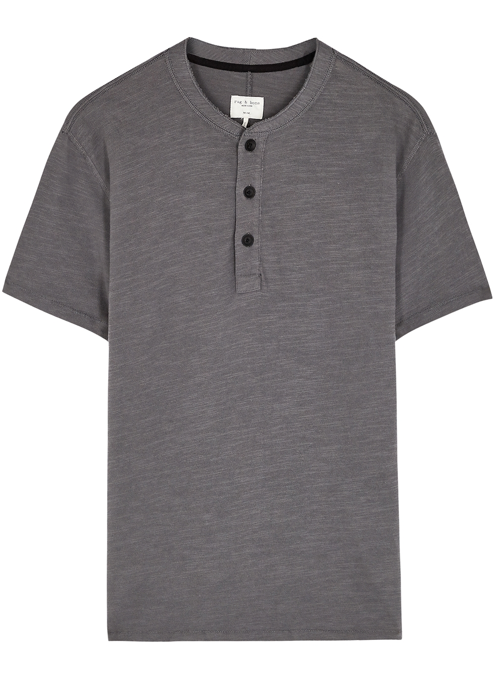 Henley grey slubbed cotton T-shirt