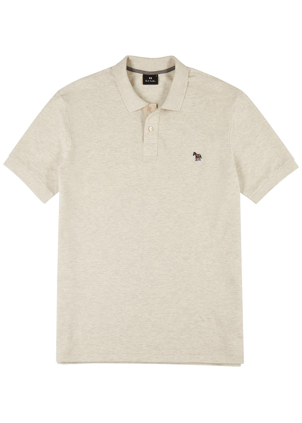Stone mélange piqué cotton polo shirt