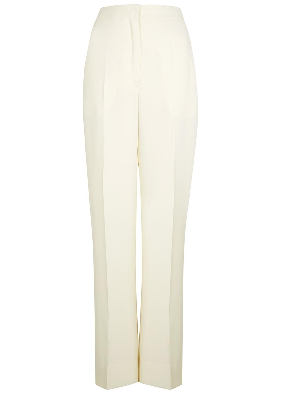 Petra ivory wide-leg trousers