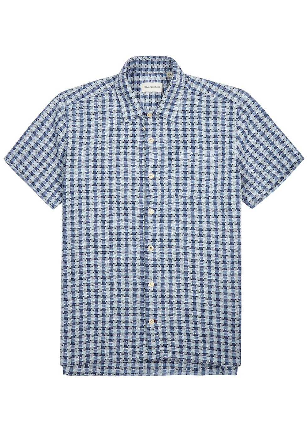 Ebley blue checked cotton shirt