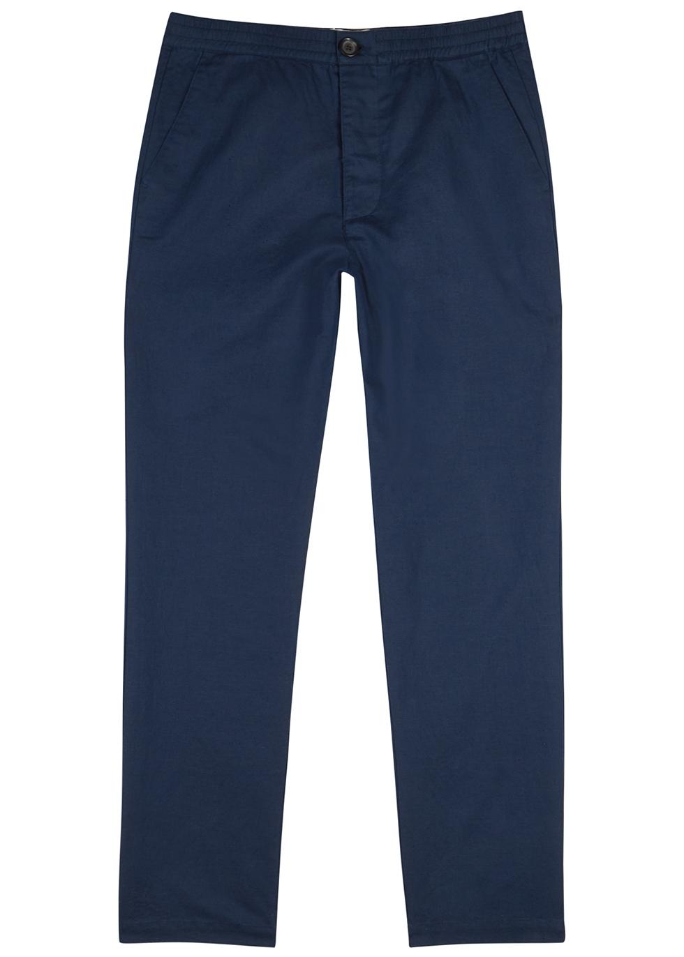 Linton navy linen-blend trousers