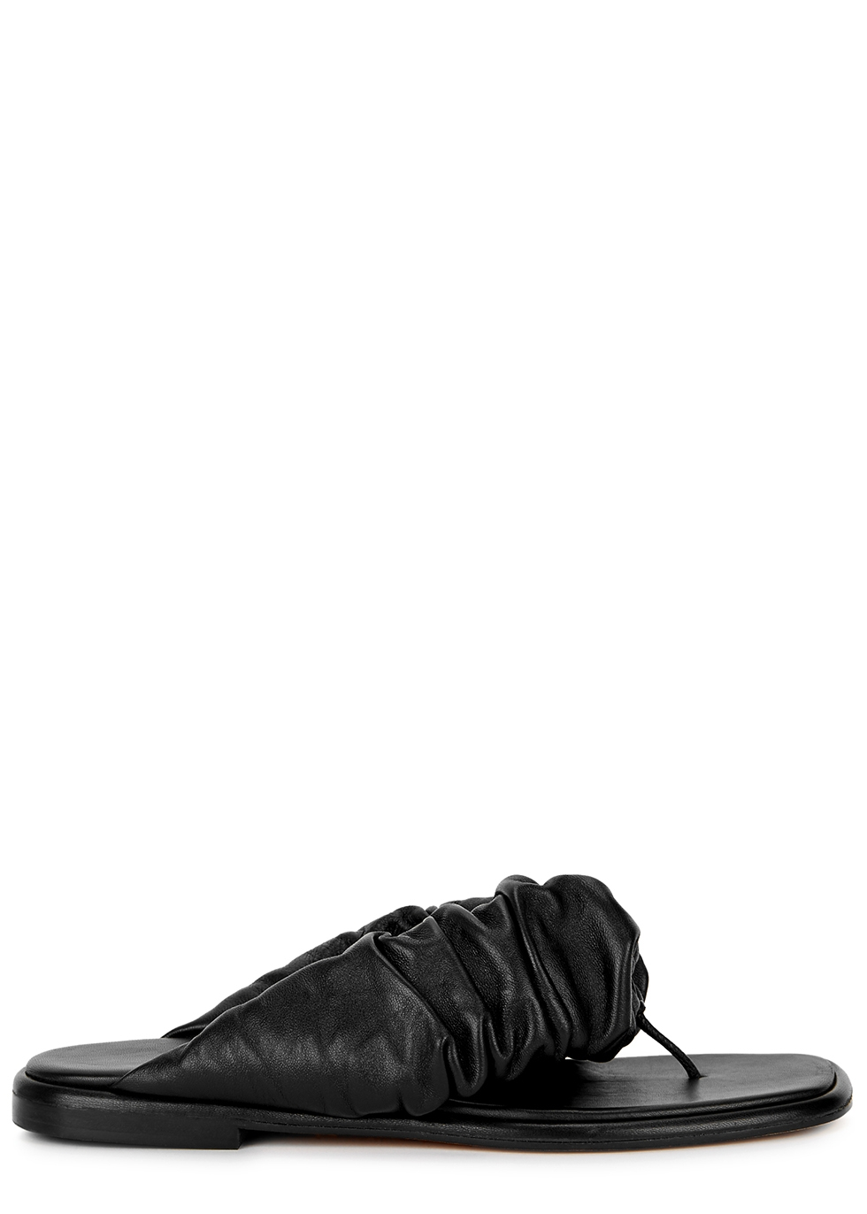 Nuvola black leather thong sandals