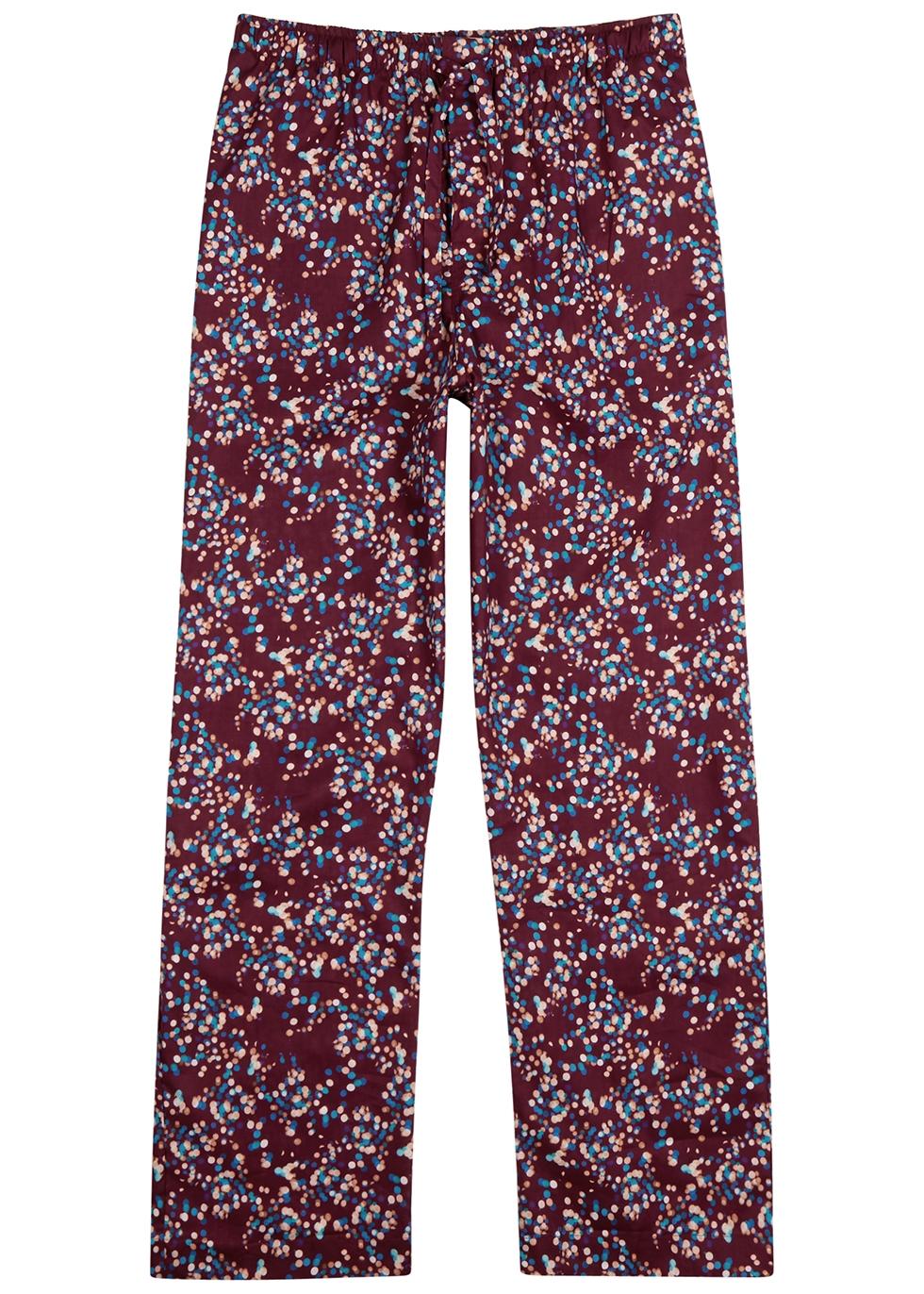 Ledbury 45 burgundy printed cotton pyjama trousers