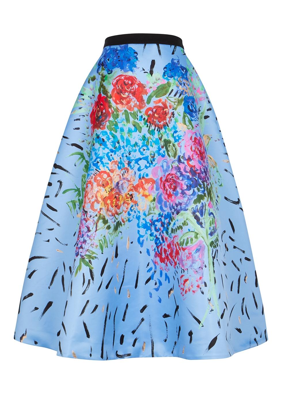 Floral-print satin maxi skirt